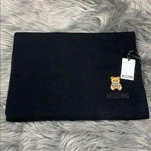 Moschino Wool Teddy Bear Patch Scarf Black
